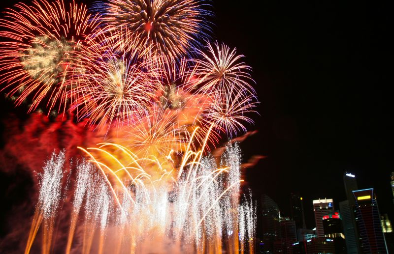The fireworks finale to the New Years Countdown.