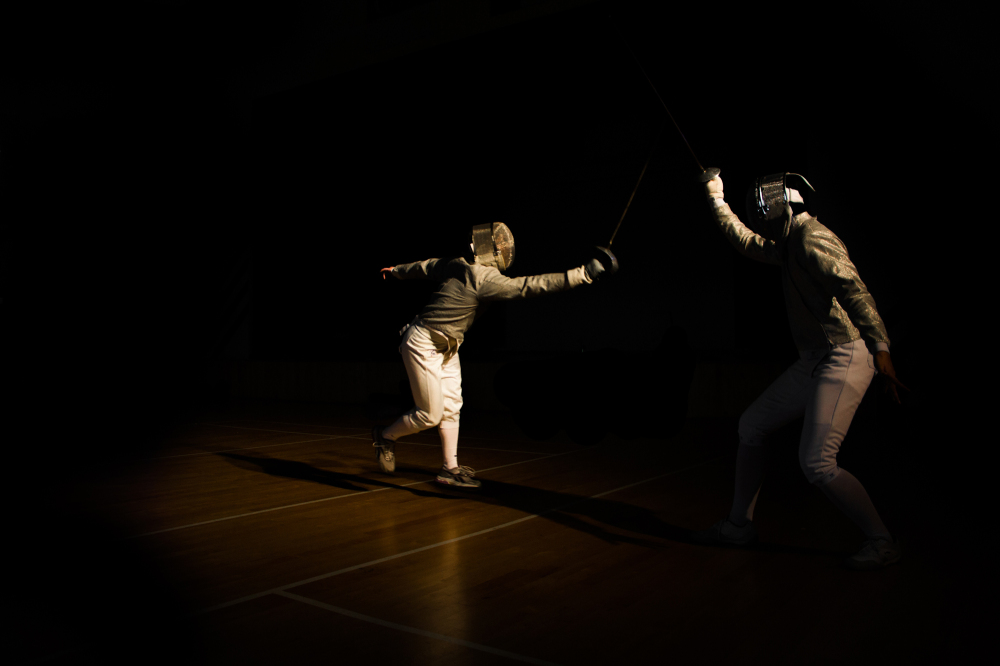 Fencers in action.