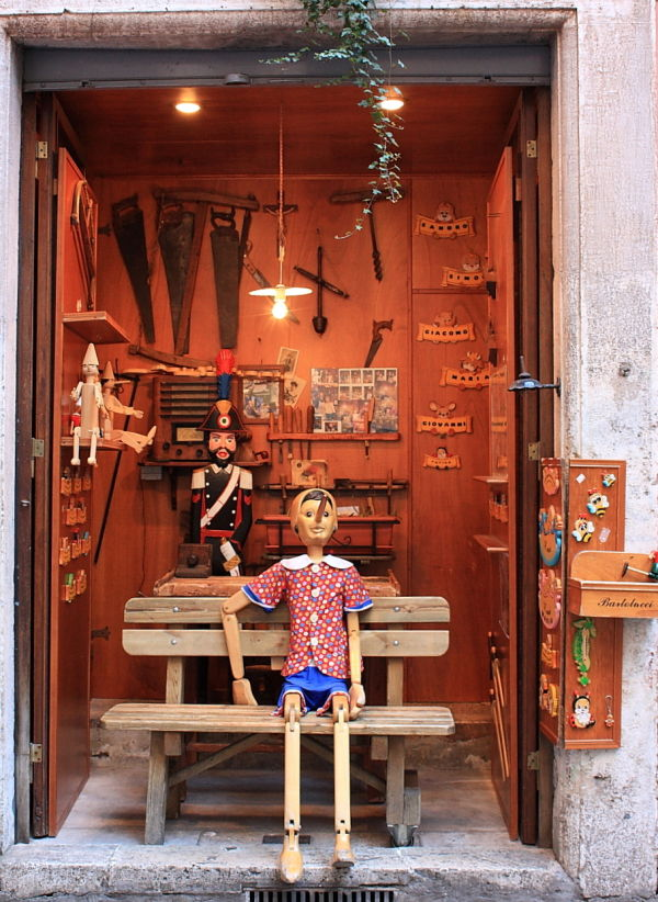 Pinocchio at Gepetto's workshop