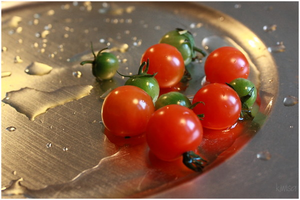 Baby red and green tomatoes