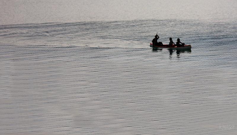 Vanuatu - 3 boys in a boat