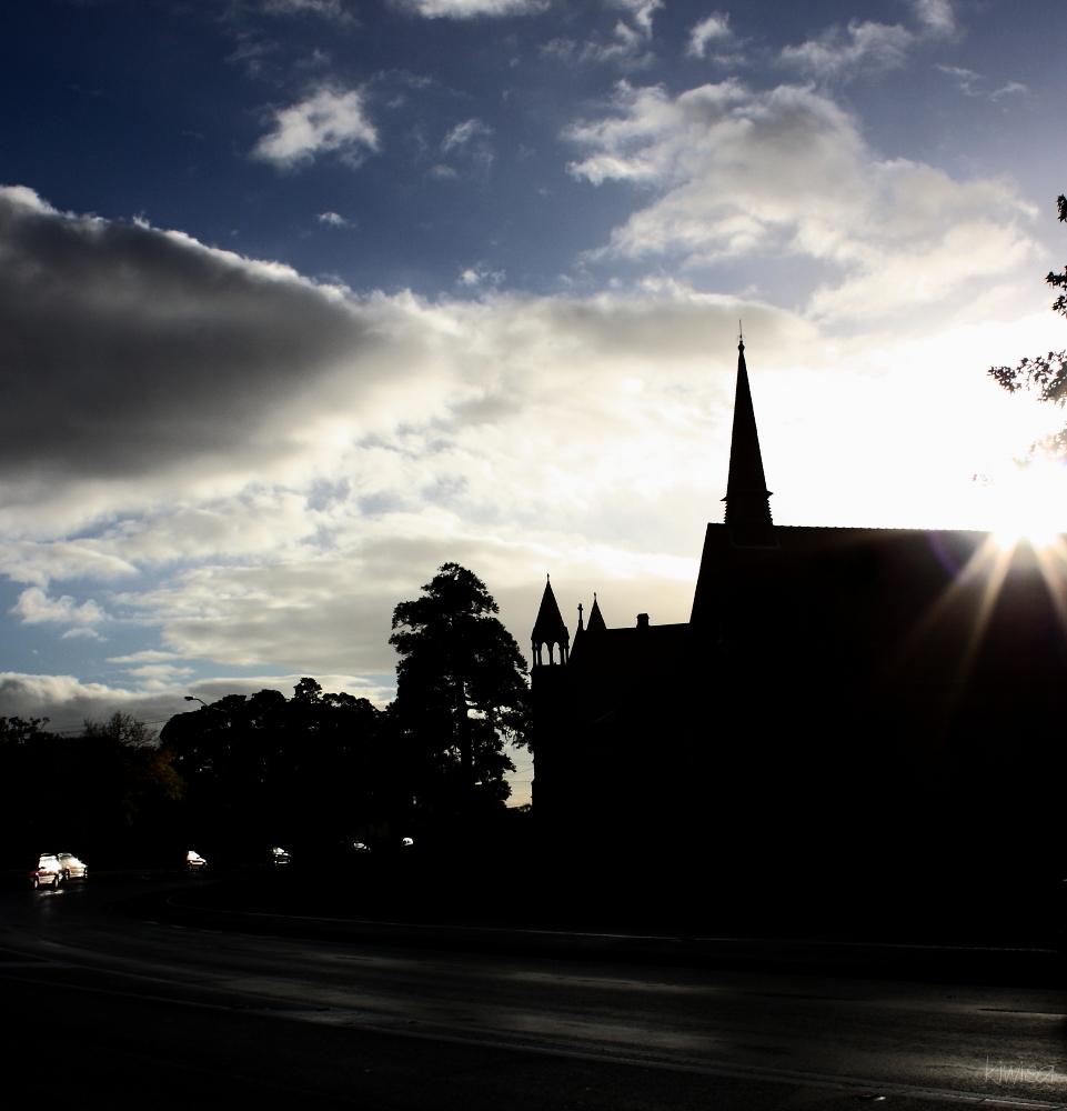 Sunbeam over church