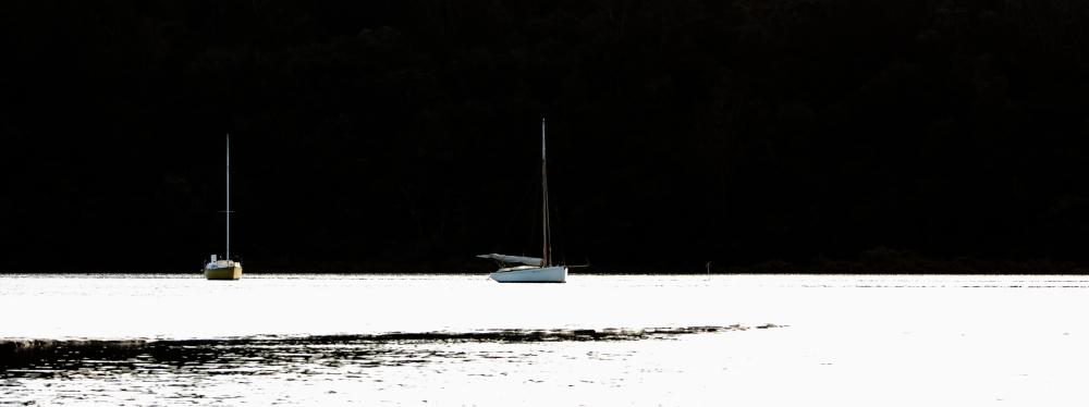 Boats moored at Okura River Mouth