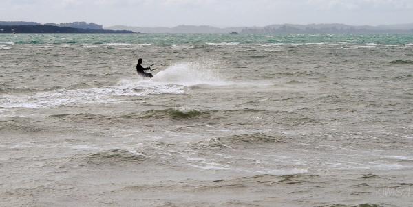 Kitesurfing off Cheltenham