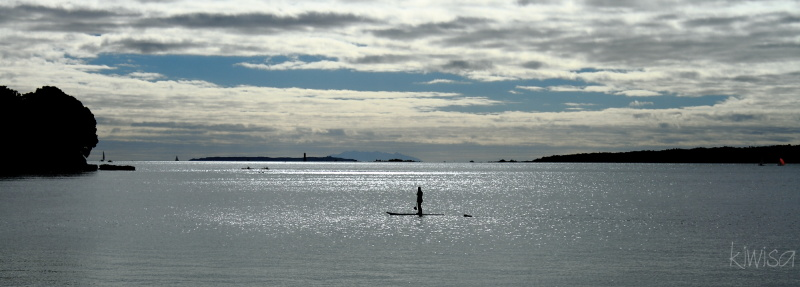 Early morning board paddle