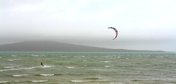Paraboarding in front of Rangitoto