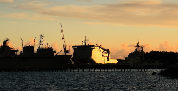 HMS Canterbury in the sunset
