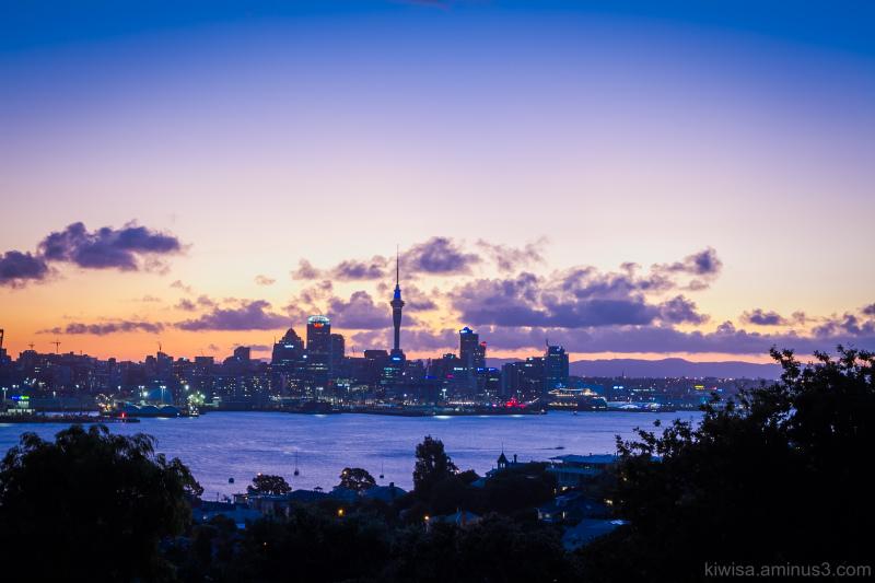 Auckland city at twilight