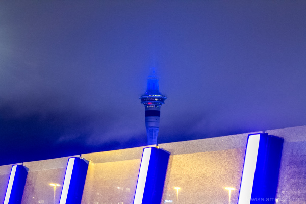 Skytower in the mist