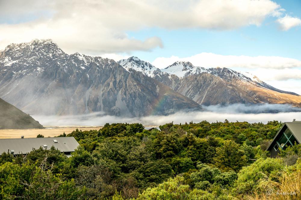 #52 SI RoadTrip, Mt Cook village rainbow