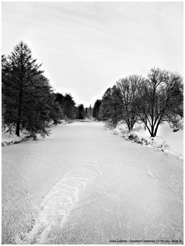 Frozen river in b/w