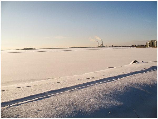 winter sun ice power plant Västerås