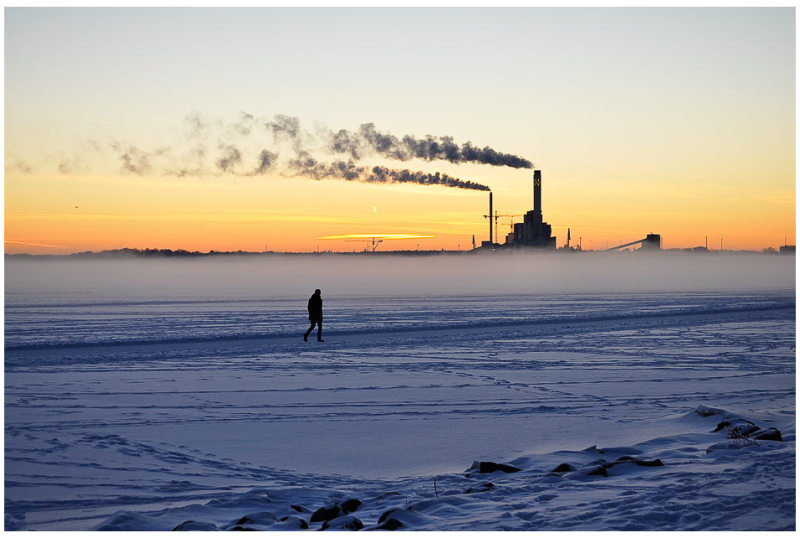 winter sea smoke sunset power plant ice recreation