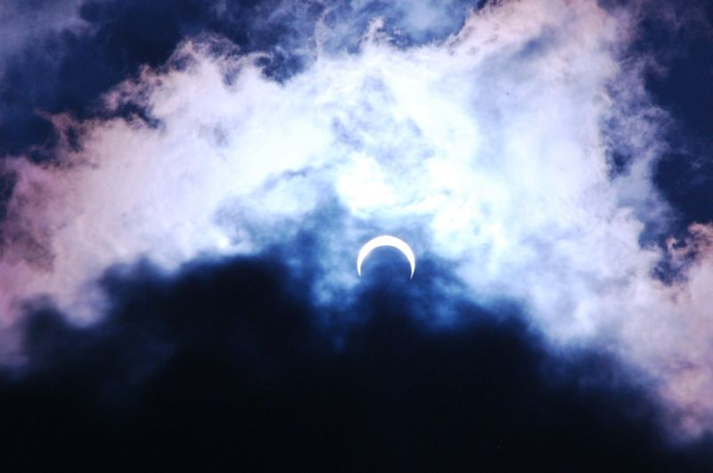 A shot of the eclipsed Sun, looks like a crescent