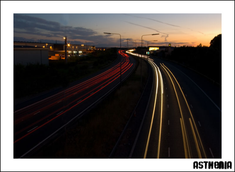 Light trails over the M25