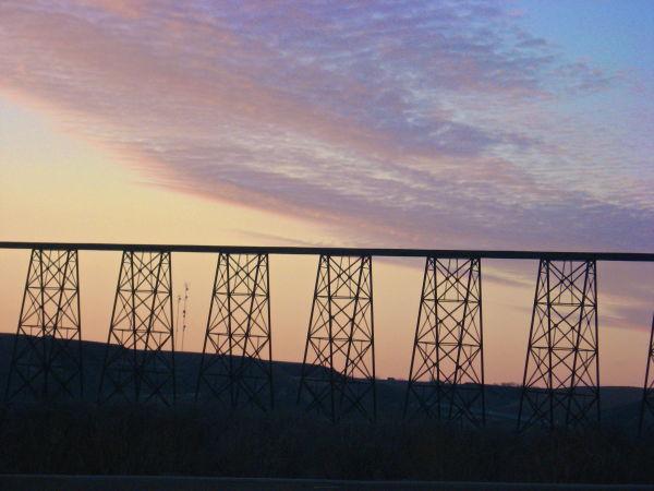 bridge, sunset, alberta