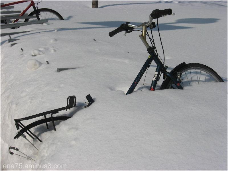 bike, snow, Montreal, winter