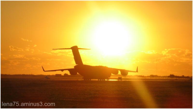 plane, sunset