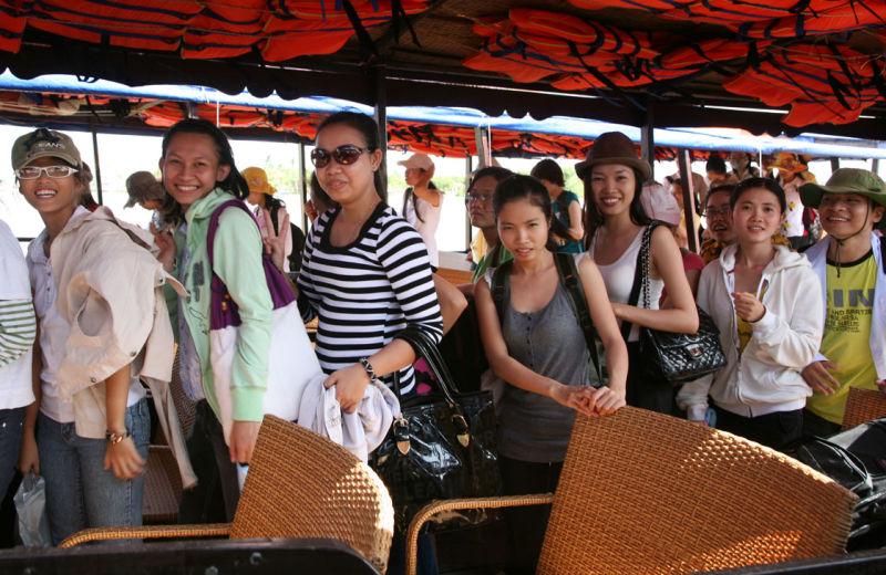 Touristes sur le Mekong