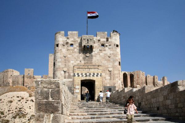 L'entrée de la citadelle d'Alep