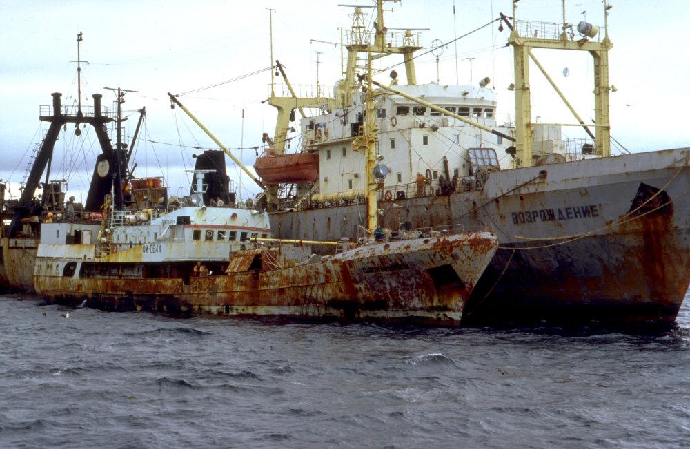 Des chalutiers soviètiques en baie du Morbihan