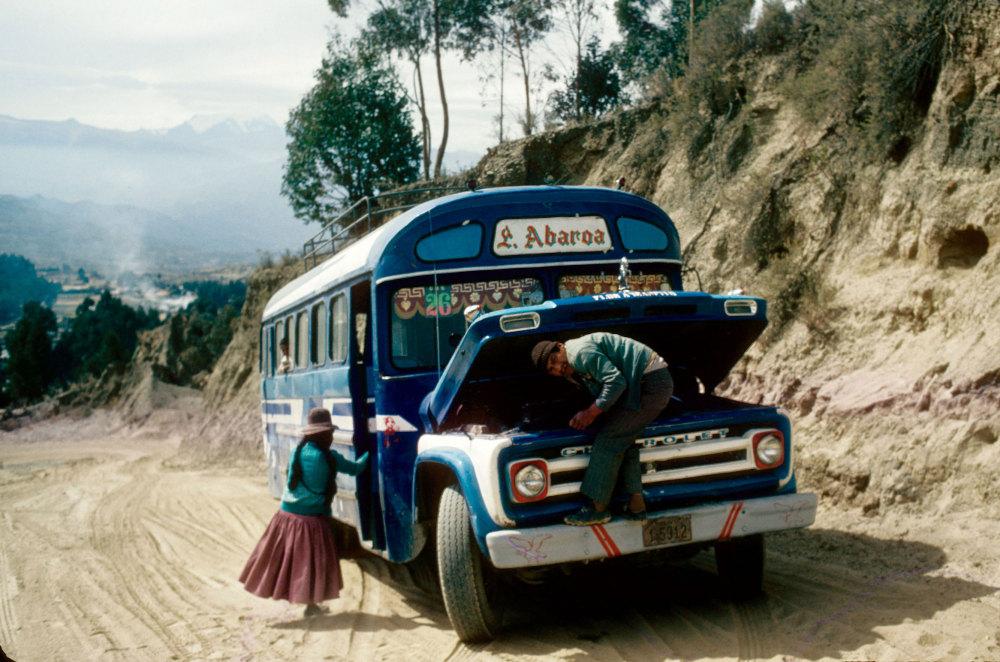 Un bus à la sortie de La Paz