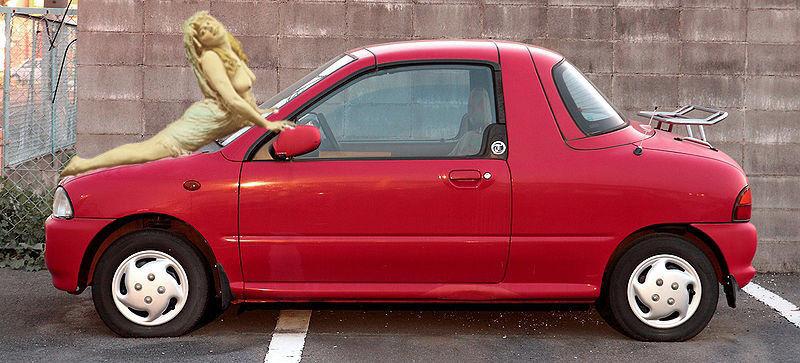 Blonde with Subaru Vivio T-top, 1998