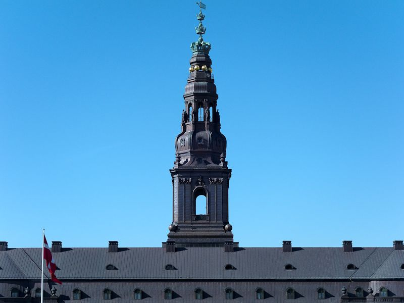 Restaurated tower on a clear blue September sky