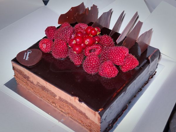 Chocolate cake with raspberry and cranberries