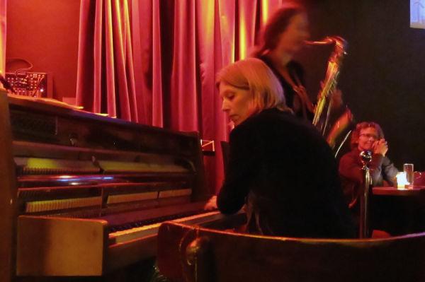 Saxophone/piano duo playing jazz