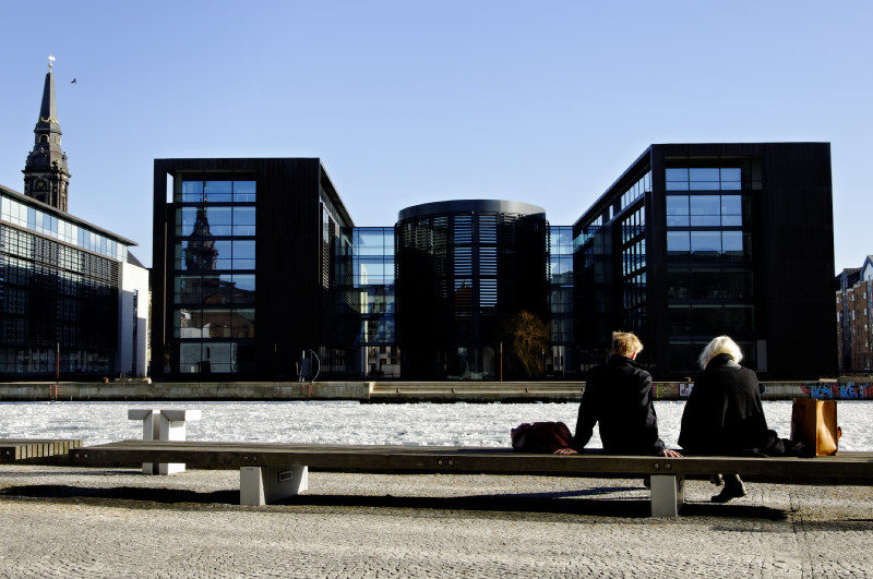 Tourists by the Copenhagen harbour at thaw