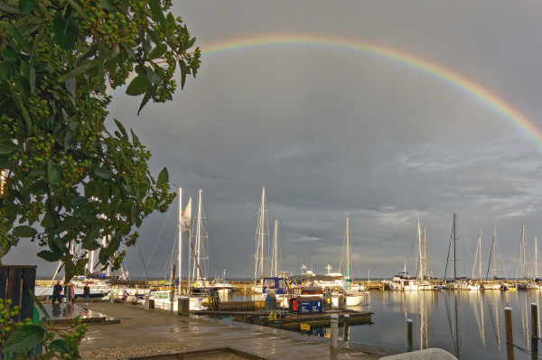 Rainbow above Rungsted harbour