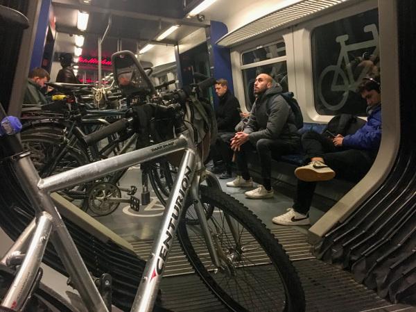 Copenhagen train bikers