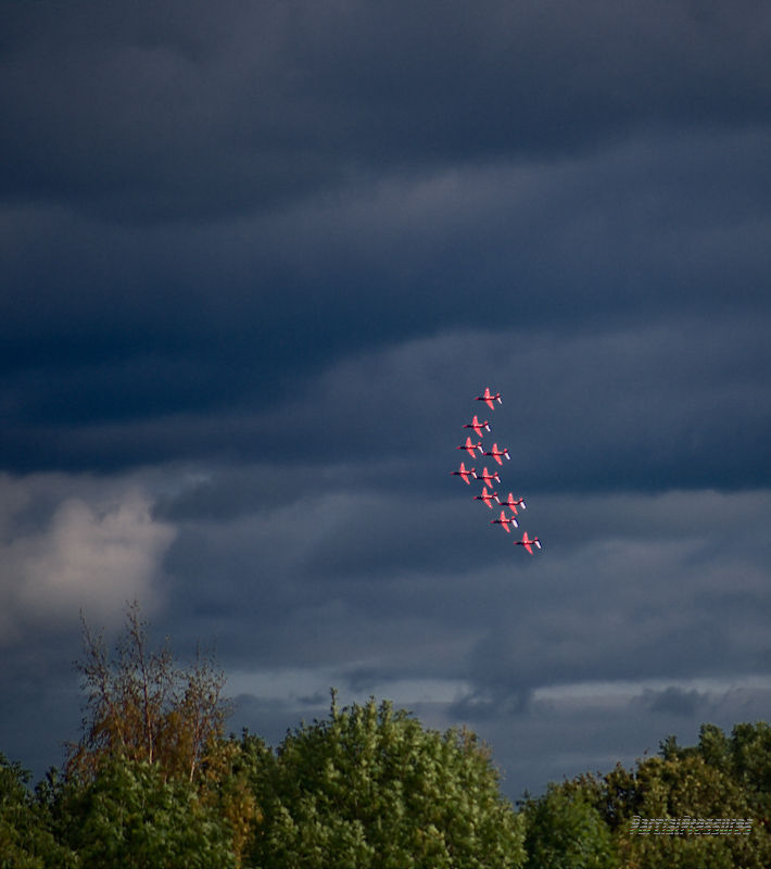 The Red Arrows turning onto final approach