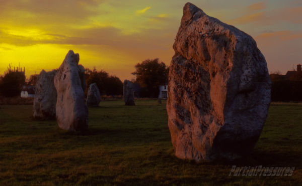 Avebury stones at sunset