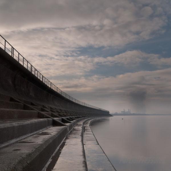 The sea wall at Severn Beach, ebbing tide