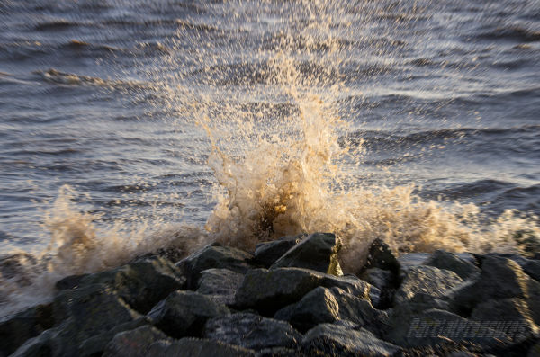 Waves meet shore defences