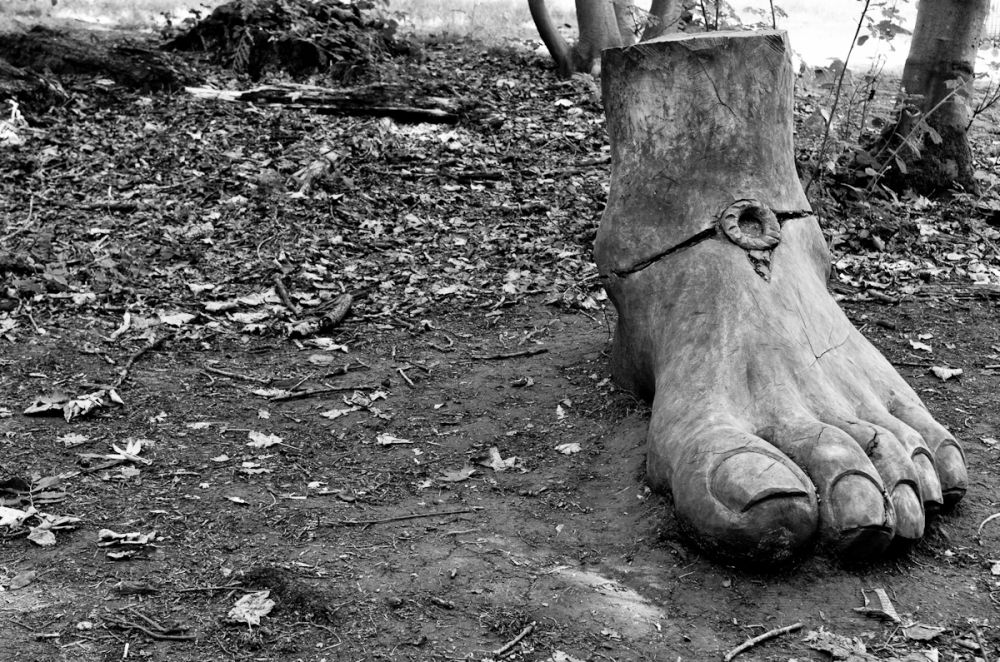 Chainsaw-carved foot standing in the forest
