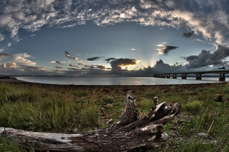 Surreal sunset at Severn Beach