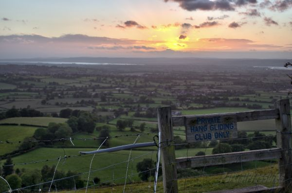Sunset at the Coaley Peak lookout, Gloucestershire