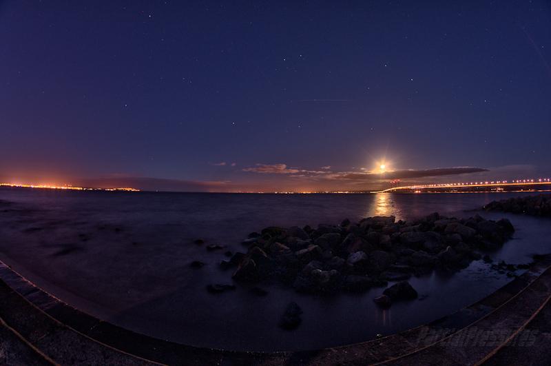 Fisheye view of the setting full moon
