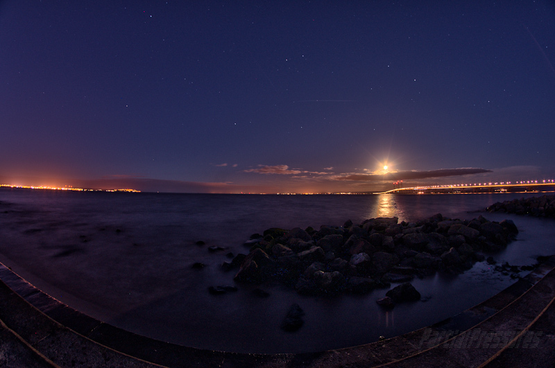Fisheye view of the setting full moon