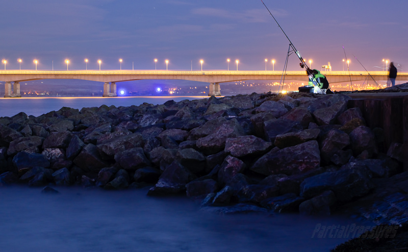 Anglers waiting in the chilly pre-dawn light