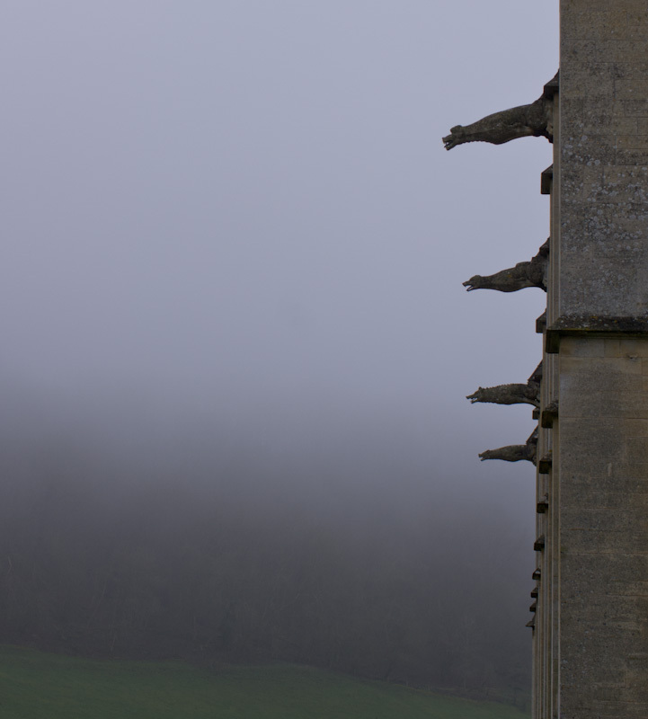 Gargoyles on Woodchester mansion, Gloucestershire