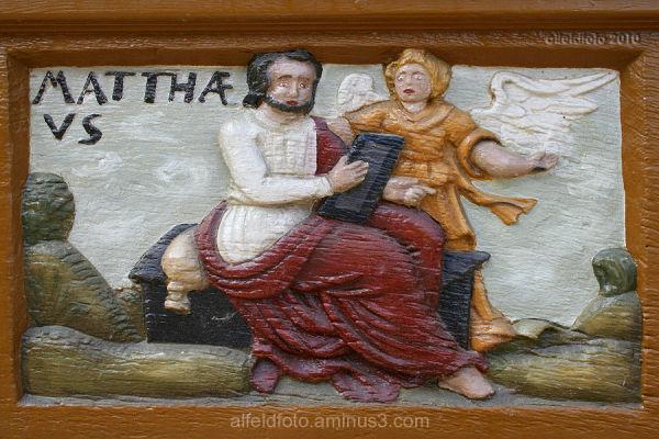 Matthaeus, Schnitzerei an der Lateinschule, Alfeld