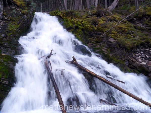 A waterfall in the rockies
