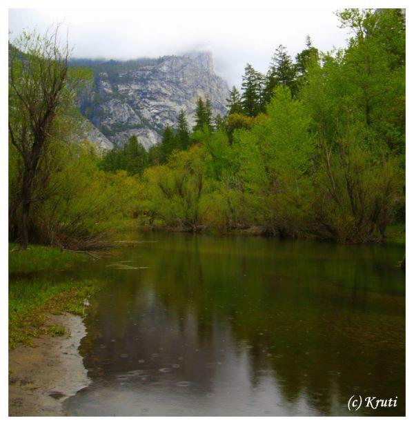 Raindrops and reflection in Mirror Lake, Yosemite