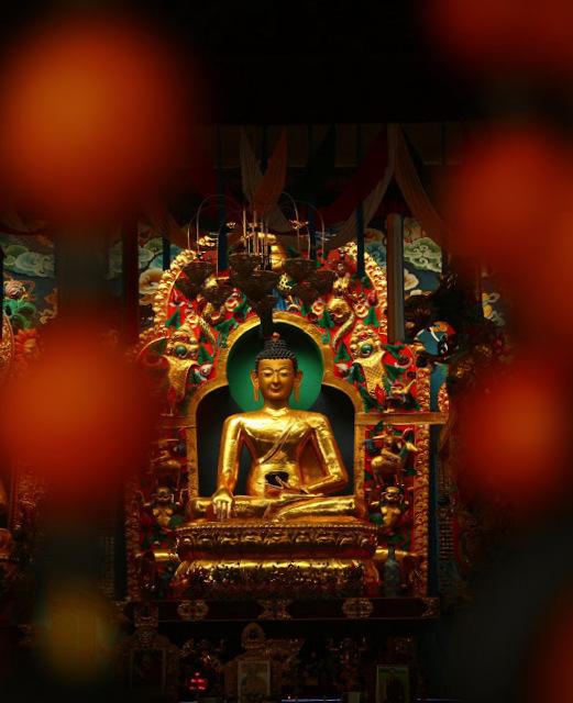 Main prayer room at Namdroling Monastery in Kushal