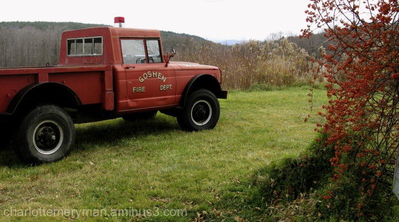 antique Goshen, MA fire truck, bittersweet berries