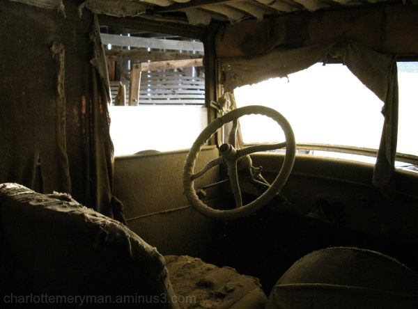 ragged interior of old Model T Ford